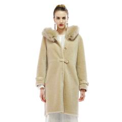 恺瑞伯爵夫人狐狸毛领羊毛大衣  货号124265