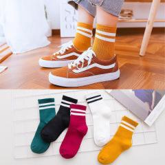 【十双装】女袜棉袜防臭韩版学生可爱中筒秋冬两杠防布标