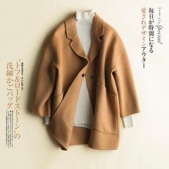2019新款100%羊毛双面绒大衣女短款高端韩版毛呢外套