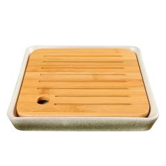 金镶玉 茶盘茶托 竹叶青土陶茶盘 陶瓷办公干泡器功夫茶具配件