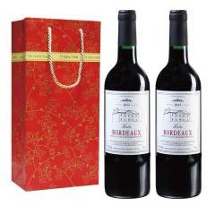 法国巴图波尔多干红葡萄酒原瓶原装进口双支礼袋装