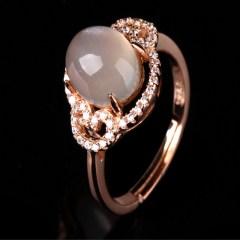 琳福珠宝 S925银镶嵌天然水晶月光石戒指 唯美月光石戒指