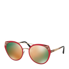 BVLGARI/宝格丽 女士宝石红色圆形金属镜框蛇鳞时尚太阳眼镜 0BV6095 20274Z 53
