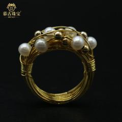 慕古 【一带一路外销款】设计款手工制作珍珠戒指(细版)MUXP2031511
