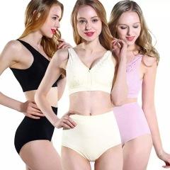 美国Genie bra第六代蕾丝拉链无感内衣3件组(黑色+粉色+鹅黄)