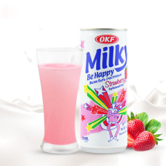 韩国原装进口OKF苏打饮料草莓牛奶味