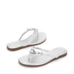 达芙妮时尚珍珠水钻人字拖鞋1017303020