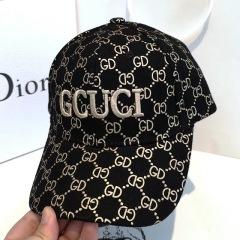 棒球帽男女同款鸭舌帽女显脸小秋冬双G黑色时尚鸭舌帽遮阳帽