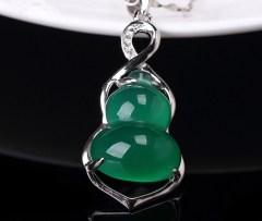 琳福珠宝 福禄长久S925银镶嵌绿玉髓葫芦项链吊坠