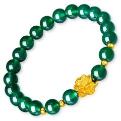 中国黄金 T0348时尚莲花黄金转运珠手链女士款3D硬金绿玛瑙金珠路路通手串荷花足金饰品生日礼物