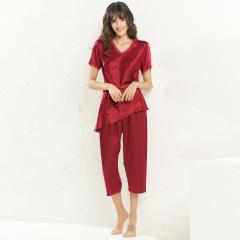 维多拉斯夏季新款女士仿真丝休闲舒适短袖上衣七分裤套装睡衣家居服8110