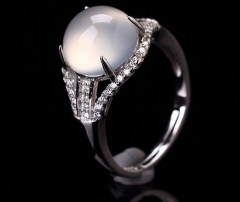 琳福珠宝  璀璨星空S925银镶嵌白玉髓戒指