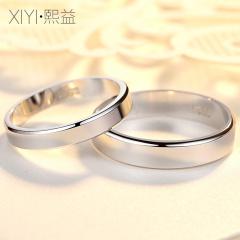熙益 925银情侣戒指男女一对爱之唯真对戒婚戒送女友戒子情人礼物