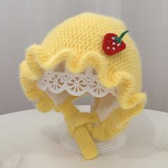 邱南婴儿针织帽子秋冬女宝宝毛线帽护耳宫廷帽可爱幼儿保暖公主帽
