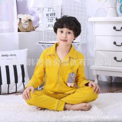 儿童睡衣新款男童开衫睡衣可爱居家套装女童睡衣空调服