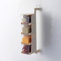 厨房免钉壁挂式可旋转调味盒无痕贴多层抽屉式调料佐料盒