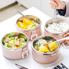 不锈钢多层保温饭盒 分格保温 一套4层 颜色随机