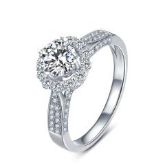 芭法娜 曼妙花语 0.5ct/1粒 E色 SI1 铂金Pt950钻石戒指 订婚结婚戒指