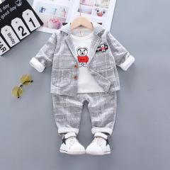 菲儿小屋   2020童套装 中小童春季新款韩版男童宝宝格子西装长袖三件套