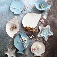 福辰海洋系列陶瓷碗盘碟子可爱零食碗碟套装