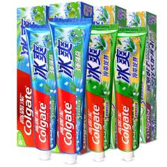 高露洁(Colgate)冰爽牙膏三重薄荷120g*2+冷萃龙井茶香120g*2