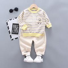 菲儿小屋 秋季新品男童0-4岁条纹全棉长袖长裤两件套