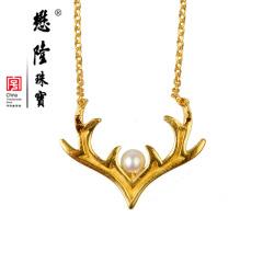 懋隆天然淡水珍珠银饰项链圣诞节可爱鹿角森女颈链礼物正品包邮