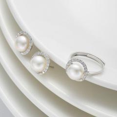DODOBEL WOMAN 时尚百搭配饰珍珠耳钉戒指两件套