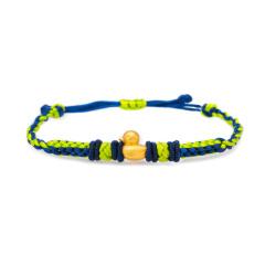 芭法娜 幸运小鸭 3D硬金足金黄金转运珠手链 手工编织黄金转运珠彩绳 可伸缩尺寸适合各种手围