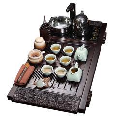 功夫茶具套装 檀木祥龙哥窑套组 实木茶盘哥窑茶具电磁炉整套