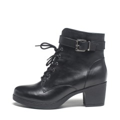 达芙妮(DAPHNE)牛皮低跟加绒系带侧拉链马丁靴1015607160