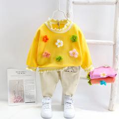 菲儿小屋 韩版休闲女童宝宝0-1-2-3-4外出服满身六朵小花长袖套装