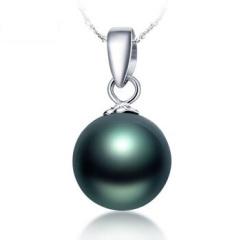 珍珠吊坠贝珠女项坠简约贝宝珠珍珠项链 黑色14mm  吊坠+耳坠+42cm银链