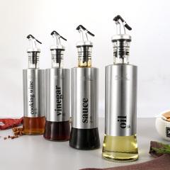 鼎匠战斧系列调味瓶 玻璃油瓶不锈钢防漏醋瓶 餐厅酱油醋瓶油壶家用厨房5件套