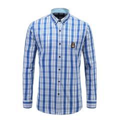男士商务休闲长袖衬衫纽扣翻领修身格纹衬衫23635108