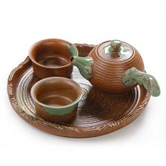 金镶玉 功夫茶具 粗陶侧把壶一壶两杯套组 茶壶茶杯茶盘茶具整套
