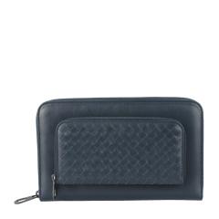 Bottega Veneta/葆蝶家 中性款式深海蓝色经典编织纹牛皮拉链手拿包