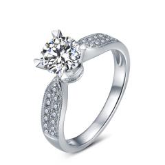 芭法娜 幸福绽放 0.5ct/1粒 E色 SI1 铂金Pt950钻石戒指 订婚结婚戒指