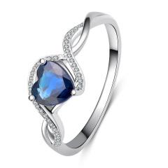 芭法娜 如影相随 18K白金蓝宝石镶钻石豪华女戒