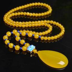 琳福珠宝  黄玉髓玛瑙长款项链 高档毛衣链 女款平安水滴玉佩挂件(带证书)