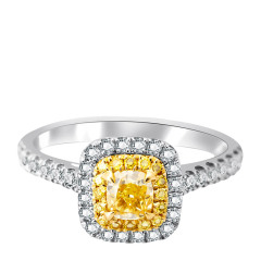 芭法娜 星耀 0.419ct 18K金天然黄钻彩钻奢华钻石女戒