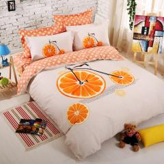 VIPLIFE家纺 全棉四件套纯棉清新文艺风床品套件-旅橙-被套200*230CM