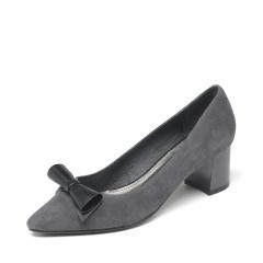 达芙妮(DAPHNE)羊皮蝴蝶结尖头方跟粗跟女单鞋1016404016