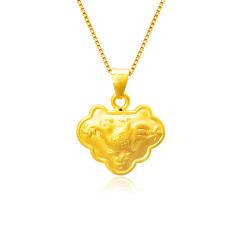 芭法娜 平安锁 3D硬金足金黄金生肖鸡本命年吊坠(送银链)