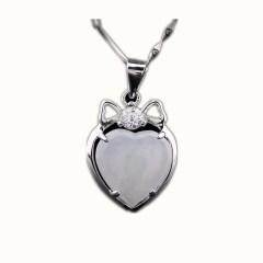 琳福珠宝 心心相印925银翡翠吊坠