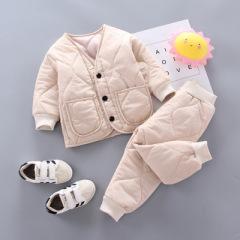 菲儿小屋  韩版纯色 1~3岁婴幼童不连帽v字领单排扣棉衣套装 新款加厚