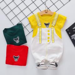 2020新品儿童纯棉短袖套装 韩版短袖小狗牛仔背带短裤套装1-4岁