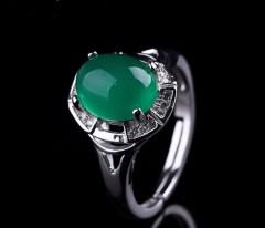 琳福珠宝 碧色倾城925银镶嵌玉髓戒指饰品
