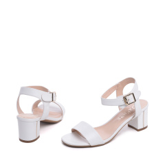 达芙妮(DAPHNE)一字带PU粗高跟露趾女凉鞋1016303033