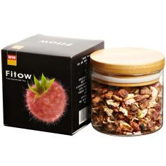 Fitow 菲特 覆盆子重瓣玫瑰水果茶 花果茶 焦糖杏仁口味 果粒茶 果味茶 90克/罐